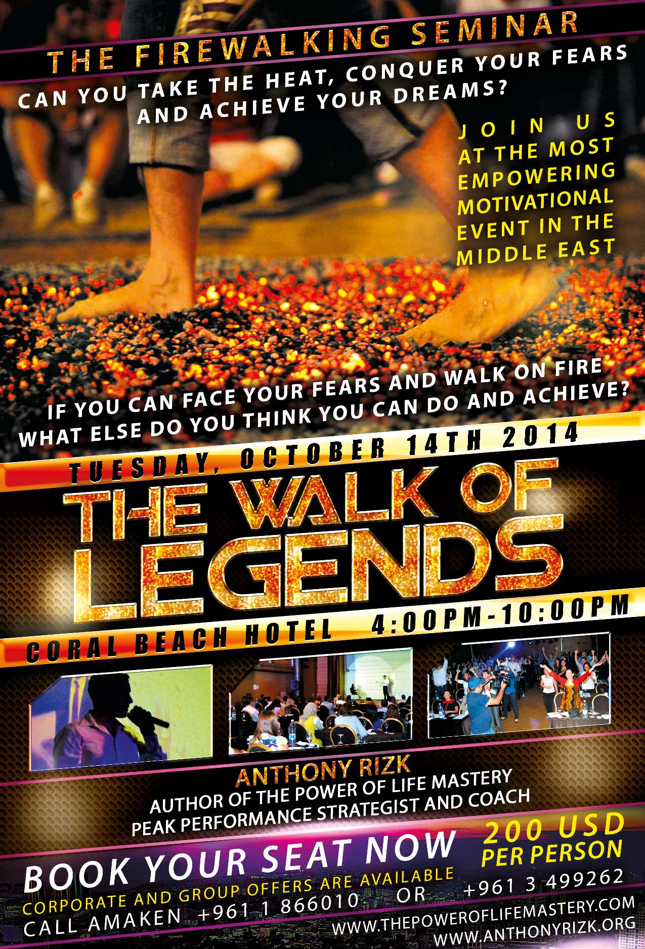 Firewalking Seminar in Lebanon: The Walk of Legends