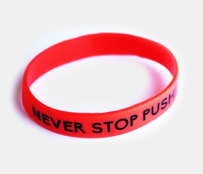 Motivational Wristband Never Stop Pushing! - Anthony Rizk